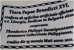 The label of the Tiara Made by Liturgix (written in Latin)