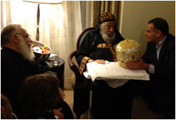 His Holiness Pope Shenouda III with V. Rev. Archpriest Mikhail Edward Mikhail and Bishoy Mikhail