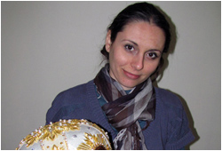 Petya, one of our skilled artisans, devotes her heart and mind to decorating all mitra at Liturgix
